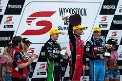 Podium: winner Tim Slade, Brad Jones Racing Holden, second place Scott McLaughlin, Garry Rogers Motorsport Volvo, third place Mark Winterbottom, Prodrive Racing Australia Ford