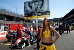 Grid girl of Maximilian Günther, Prema Powerteam Dallara F312 – Mercedes-Benz