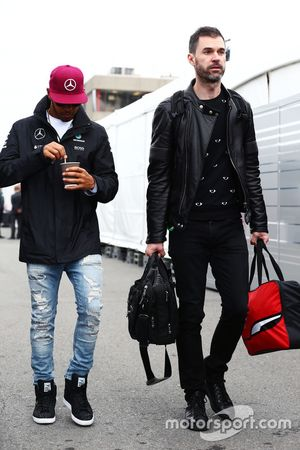 (L to R): Lewis Hamilton, Mercedes AMG F1 with Marc Hynes