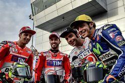 Andrea Iannone, Ducati Team; Andrea Dovizioso, Ducati Team; Danilo Petrucci, Pramac Racing; Valentino Rossi, Yamaha Factory Racing