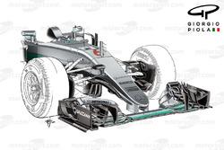 Le nez de la Mercedes W07 au GP d'Espagne