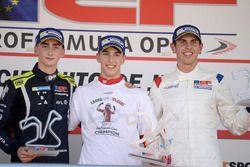 Podium: Race winner and Champion Leonardo Pulcini, Campos Racing; second place Ferdinand Habsburg, Drivex School; third place Harrison Scott, Teo Martin Racing