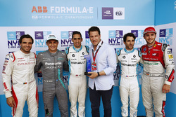 Jérôme d'Ambrosio, Dragon Racing, Mitch Evans, Jaguar Racing, Sébastien Buemi, Renault e.Dams, Nicolas Prost, Renault e.Dams, Daniel Abt, Audi Sport ABT Schaeffler, celebrate with the Pole Position award after qualifying