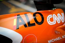 Dettaglio della carrozzeria della monoposto di Fernando Alonso, McLaren MCL32