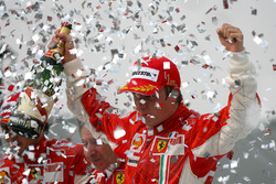 Kimi Raikkonen, Ferrari celebrates on the podium