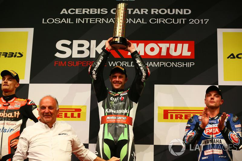 Podio: Ganador de la carrera Jonathan Rea, Kawasaki Racing