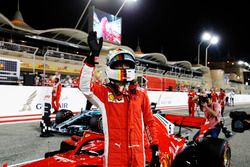 Sebastian Vettel, Ferrari SF71H, celebrates after taking Pole Position