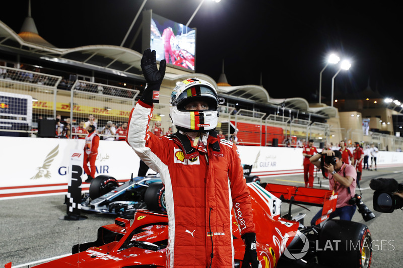 Sebastian Vettel, Ferrari SF71H, celebrates after taking Pole Position
