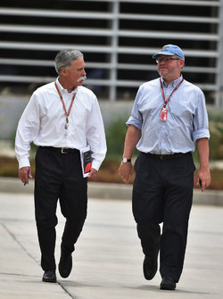 Chase Carey, Chief Executive Officer and Executive Chairman of the Formula One Group and Joe Saward, Journalist