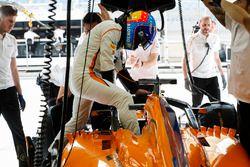 Fernando Alonso, McLaren, si cala nella sua monoposto