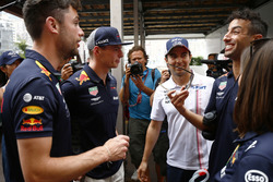 Max Verstappen, Red Bull Racing, Sergio Perez, Force India, and Daniel Ricciardo, Red Bull Racing