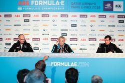 Xavier Mestelan Pinon, directeur performance DS, Jean-Paul Driot, Renault e.Dams, Frank Baldet, Venturi Formula E, en conférence de presse