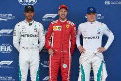 Sebastian Vettel, Ferrari, Lewis Hamilton, Mercedes AMG F1, et Valtteri Bottas, Mercedes AMG F1