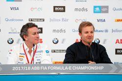 Alejandro Agag, CEO, Formula E, with Nico Rosberg, Formula E investor, Hugo Boss Ambassador, in the press conference