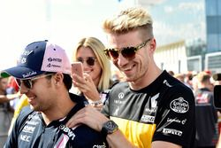 Nico Hulkenberg, Renault Sport F1 Team and Sergio Perez, Force India