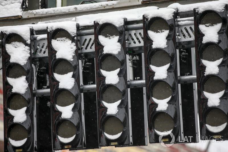 Luzes de largada cobertas por neve