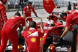Sebastian Vettel, Ferrari SF70H, in the pits