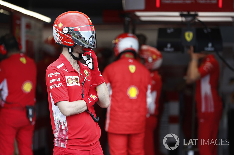 A Ferrari pit crew team member