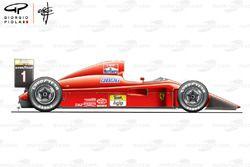 Ferrari F1-90 (641) yandan görünüm