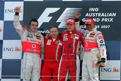 Podium: Race winner Kimi Raikkonen, Ferrari, second place Fernando Alonso, McLaren, third place Lewis Hamilton, McLaren, Jean Todt, Ferrari CEO