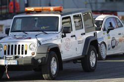 La Abarth 695 di Eroldu Kuzey viene portata via dopo l'incidente