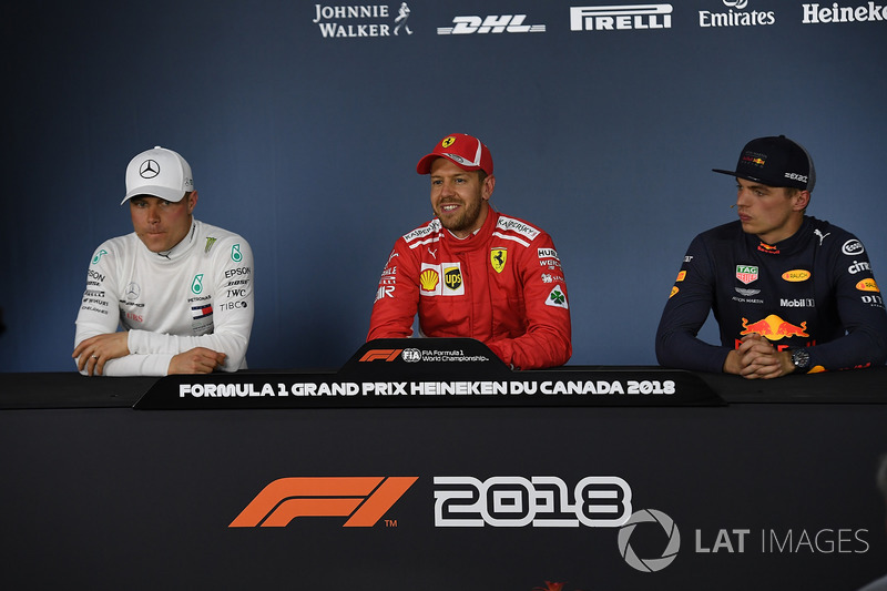 Valtteri Bottas, Mercedes-AMG F1, Sebastian Vettel, Ferrari and Max Verstappen, Red Bull Racing in t