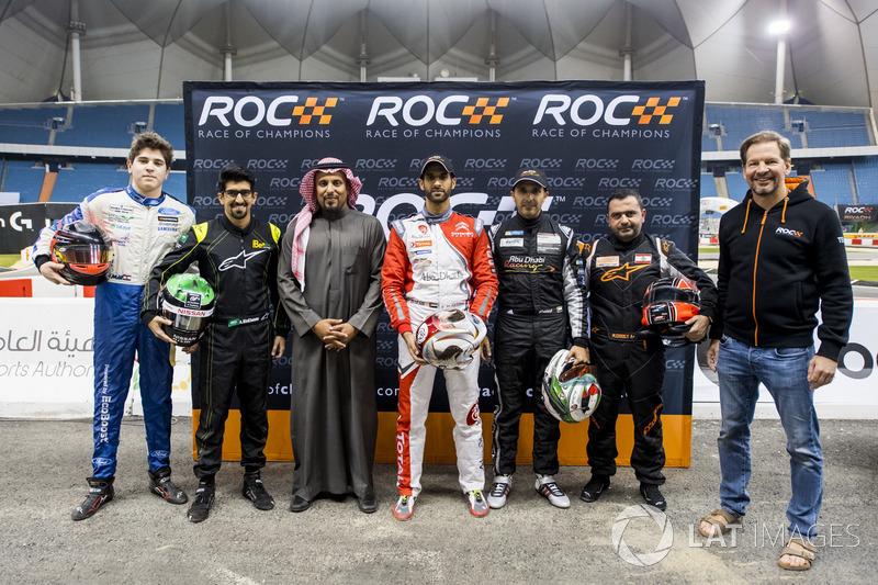 Karl Massad, Ahmed Bin Khanen, Prince Khaled Al Faisal, President of the Motor Federation Of Saudi Arabia, Khaled Al Qassimi, Khaled Al Qubaisi, Mansour Chebli, and Fredrik Johnsson of ROC