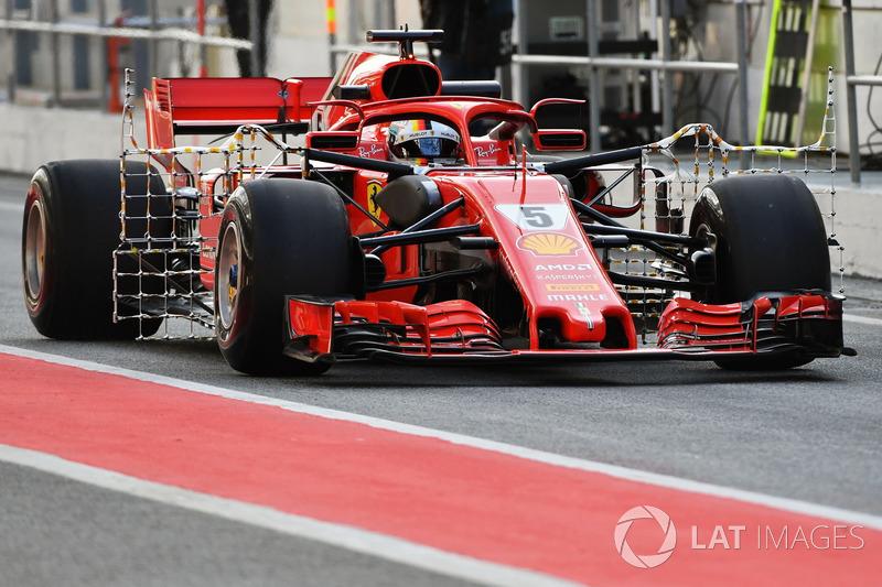 Sebastian Vettel, Ferrari SF71H, con sensori aerodinamici