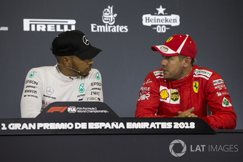Lewis Hamilton, Mercedes-AMG F1 and Sebastian Vettel, Ferrari in the Press Conference
