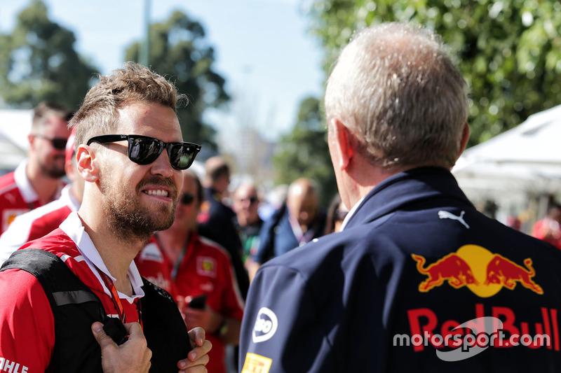 Sebastian Vettel, Ferrari, mit Helmut Marko, Red Bull
