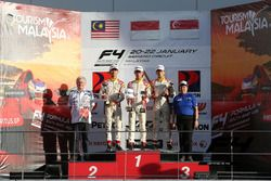 Podium: race winner Presley Martono, second place Isyraf Danish, third place Danial Frost