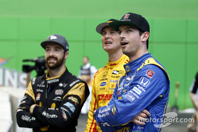 Alexander Rossi with Ryan Hunter-Reay and James Hinchcliffe