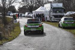 Umberto Scandola, Skoda Fabia R5, Skoda Motorsport Italia, con i media