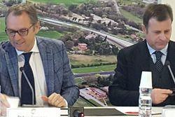 Stefano Domenicali, CEO Lamborghini, Pier Giovanni Ricci Direttore Generale dell'Autodromo Internazionale Enzo e Dino Ferrari di Imola