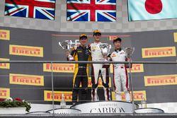 Podium: racewinnaar George Russell, ART Grand Prix, tweede plaats Jack Aitken, ART Grand Prix, derde