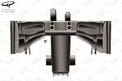 Lotus E22 detailed illustration of the underside of the front wing and asymmetric nose