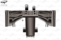 Illustration détaillée du dessous de la Lotus E22 avec le nez asymétrique
