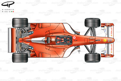 Vue de dessus de la Ferrari F2001