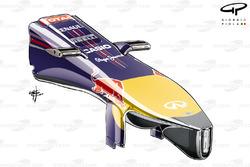 Le nez de la Red Bull RB10 avec un fond en
