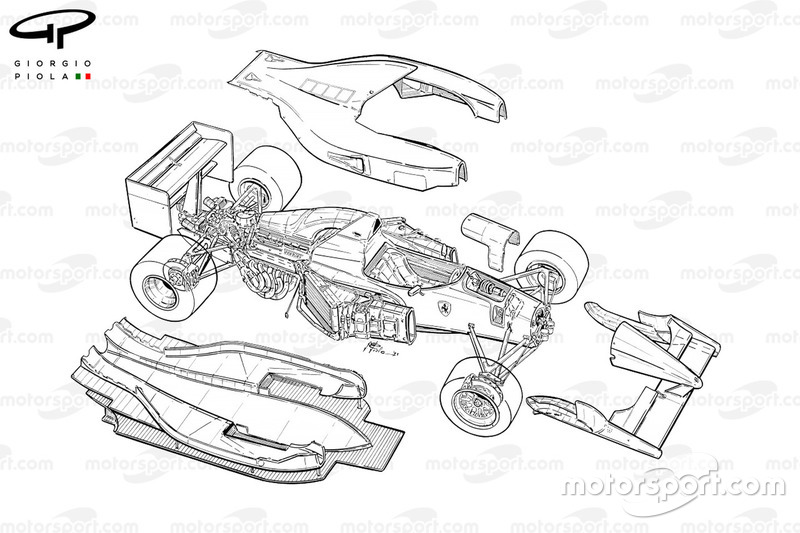 Ferrari F92A (644) 1992 exploded detail view
