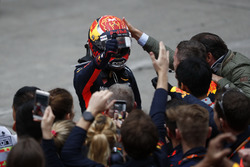 Max Verstappen, Red Bull Racing, celebrates in parc ferme