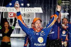 Brad Keselowski, Team Penske Ford, celebrates in Victory Lane