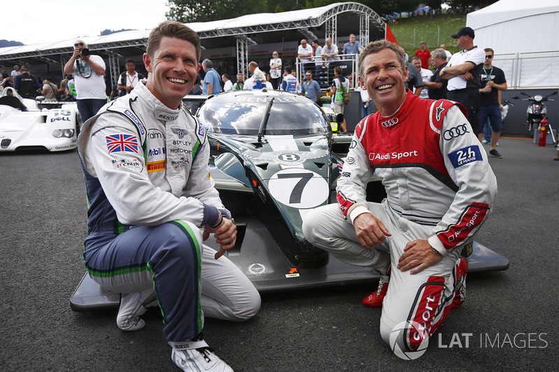 Guy Smith and Tom Kristensen pose, the Bentley that they shared to victory at Le Mans in 2003