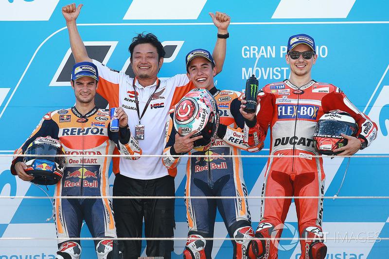 Ganador, Marc Márquez, Repsol Honda Team, segundo, Dani Pedrosa, Repsol Honda Team, tercero, Jorge L