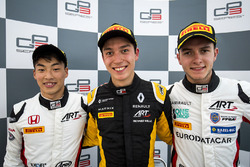 Winner Jack Aitken, ART Grand Prix, second place Nirei Fukuzumi, ART Grand Prix, third place Anthoine Hubert, ART Grand Prix