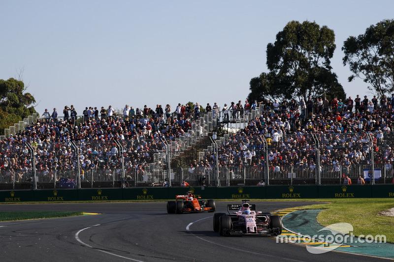 Sergio Perez, Force India VJM10, leads Stoffel Vandoorne, McLaren MCL32