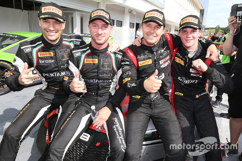 Winners Marcel Fassler, Dries Vanthoor, Belgian Audi Club Team WRT, second place Christian Engelhart, Mirko Bortolotti, GRT Grasser Racing Team