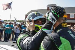 #16 Change Racing Lamborghini Huracan GT3: Corey Lewis, Jeroen Mul celebrate their first place finish in GTD