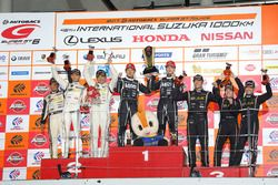 Podium GT300: race winners #65 K2 R&D Leon Racing Mercedes SLS AMG GT3: Haruki Kurosawa, Naoya Gamou, second place #88 JLOC Lamborghini GT3: Manabu Orido, Kazuki Hiramine, third place #87 JLOC Lamborghini GT3: Shinya Hosokawa, Kimiya Sato