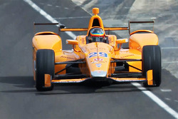 Fernando Alonso, Andretti Autosport Honda leaves the pits for the first time